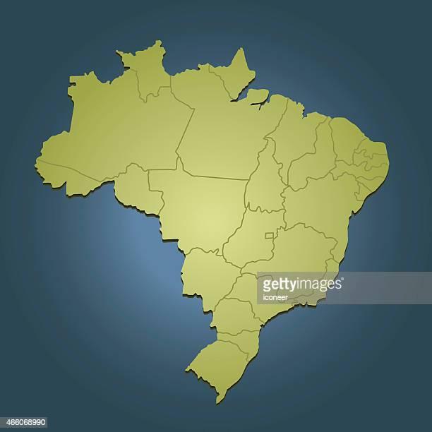 Brasilien green travel Karte auf dunkel blauem Hintergrund