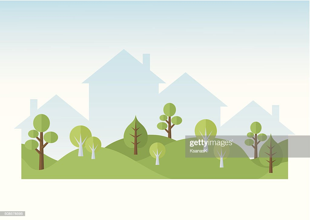 Green Trees And Houses Silhouettes : Vector Art