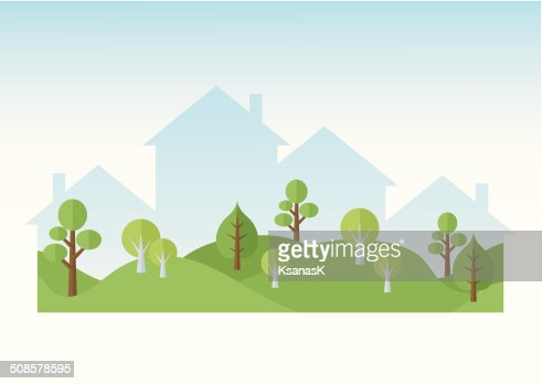 Green Trees And Houses Silhouettes : Vectorkunst