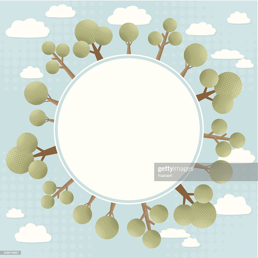 Green Trees Concept Round Banner : Vector Art