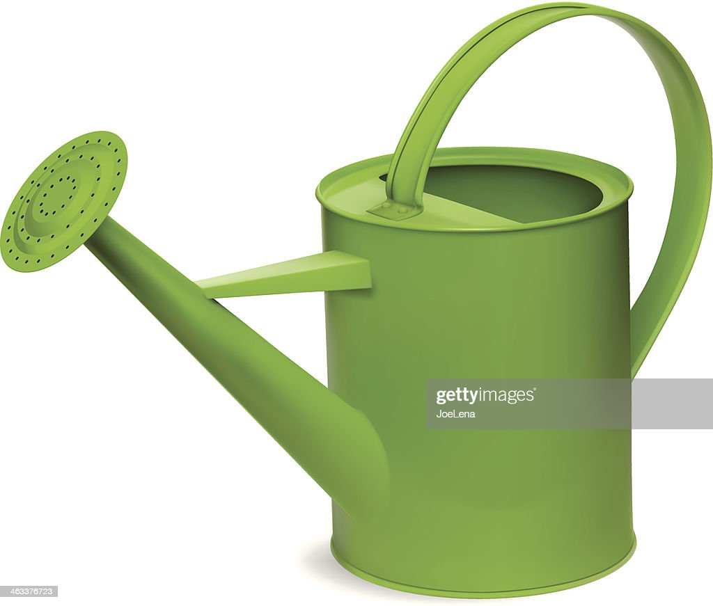 Green watering can vector art getty images - Sprinkling cans ...