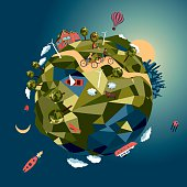 Bird eye view of a little planet. Cartoon illustration.