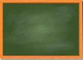 green chalkboard vector illustration with wood frame and blank greenboard template