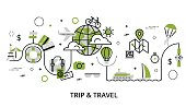 Modern flat thin line design vector illustration, greenery concept of travelling around the world, journey and trip to other countries, for graphic and web design