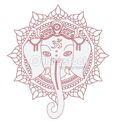 Begrüßung Schöne Karte Mit Elefanten Hinduismus Gott Ganescha Mit ...