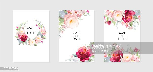 Greeting card and background with bouquets of flowers.  A set of vector illustrations in a watercolor style. : stock vector