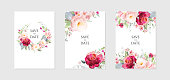 Greeting card and background with bouquets of flowers.  A set of vector illustrations in a watercolor style.