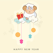 Happy New Year celebrations with sheep, gift boxes and hanging ornaments from clouds on snowflakes decorated brown background.