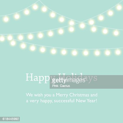 Greeting Card Design with Fairy Lights : Arte vectorial