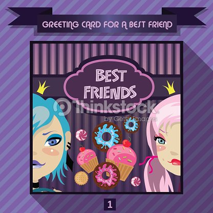 Greeting Card For A Best Friend Birthday Greetings For Girls Vector