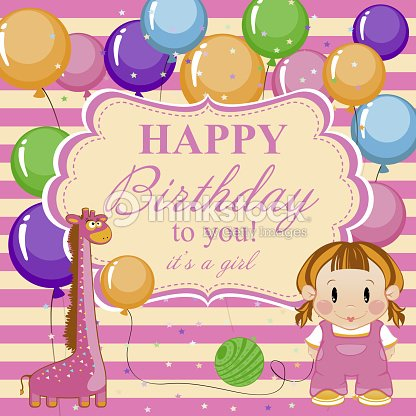 Greeting card for baby girl a happy birthday vector art thinkstock greeting card for baby girl a happy birthday vector art bookmarktalkfo Images
