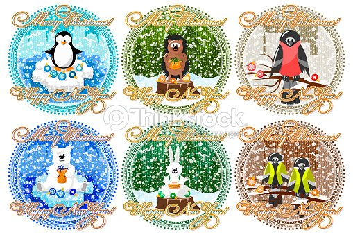 greeting card for christmas and new year animals and snow vector art