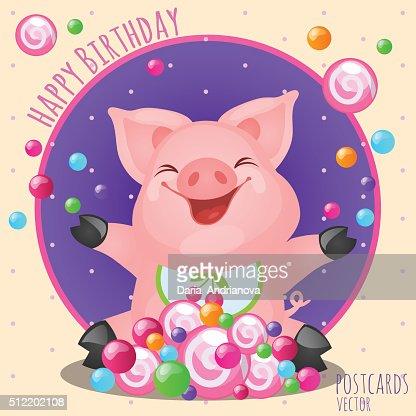 Alles Gute Zum Geburtstag Grusskarte Mit Lustige Katze Vektorgrafik