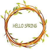 Cute background greeting card, HELLO SPRING in circle of twigs, vector design