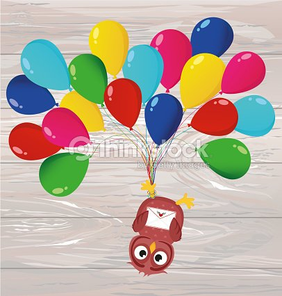Greeting card or invitation for a birthday and a holiday the owl greeting card or invitation for a birthday and a holiday the owl hanging upside down on balloons vector on wooden background stopboris Choice Image