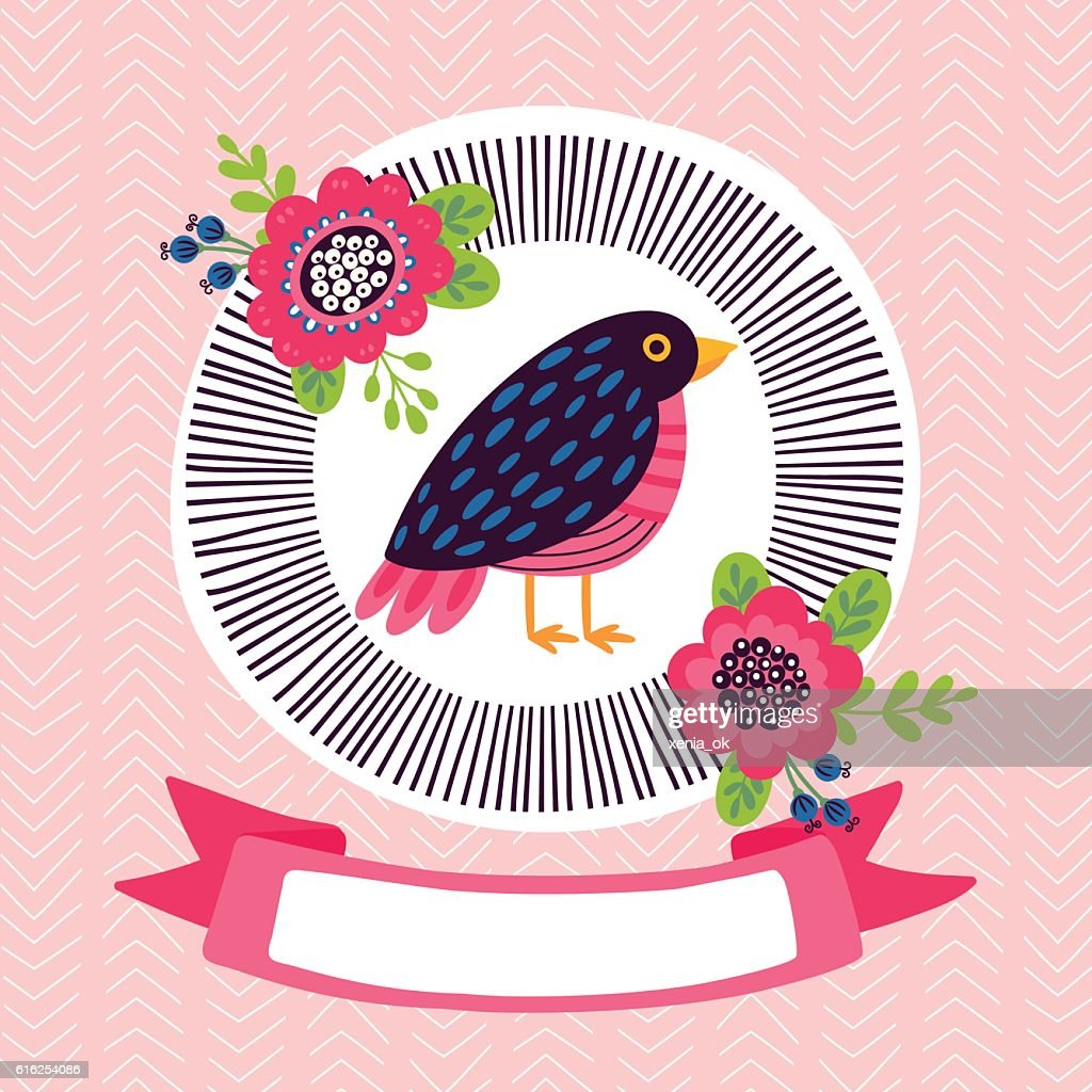 greeting card or invitation with bird : Arte vetorial