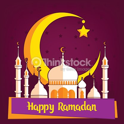 Greeting card template for muslim holiday with flat illustration of greeting card template for muslim holiday with flat illustration of islamic mosque and crescent moon traditional ramadan kareem month celebration m4hsunfo