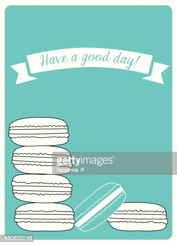 greeting card with a lot of turquoise macarons : Vector Art