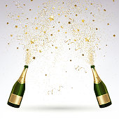 greeting card with champagne and gold confetti salute on a light background
