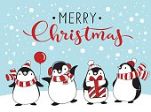 Vector holiday Christmas greeting card with four cartoon penguins and Merry Christmas lettering.