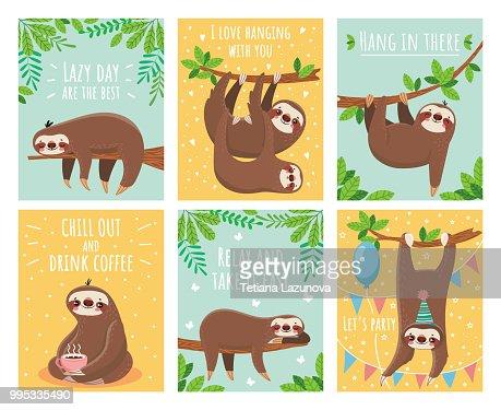 Tarjeta de felicitación con perezoso perezoso. Dibujos animados lindo perezosos tarjetas con texto de motivación y felicitación. Conjunto de ilustración de animales de sueño : arte vectorial