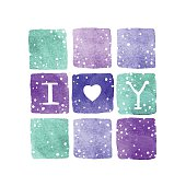 Vector greeting  card with lettering I Love You on the square blue, purple and green watercolors backgrounds with snow.