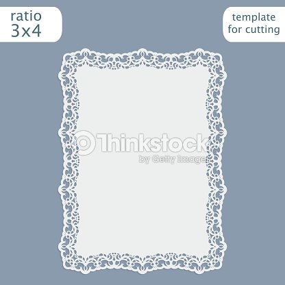 greeting card with openwork border paper doily under the cake