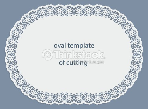 Greeting Card With Openwork Oval Border Paper Doily Under The Cake