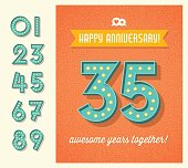 Happy Anniversary card or banner design with set of lighted retro numbers. easy to edit.