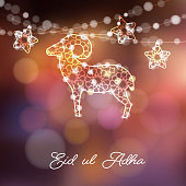 Greeting card with silhouette of ornamental sheep and stars illuminated by lights, vector illustration background for Muslim Eid Ul Adha holiday, modern blurred vector background.