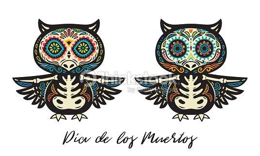 Greeting card with sugar skull owls traditional holiday in mexico greeting card with sugar skull owls traditional holiday in mexico vector art m4hsunfo