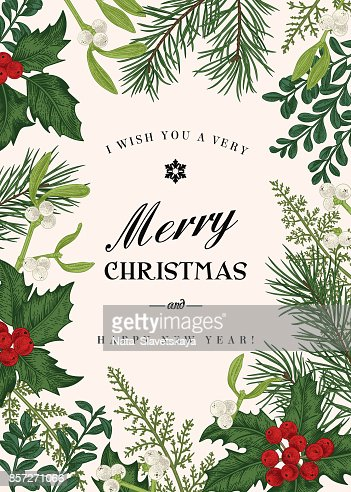Greeting Christmas Card In Vintage Style Vector Art Thinkstock