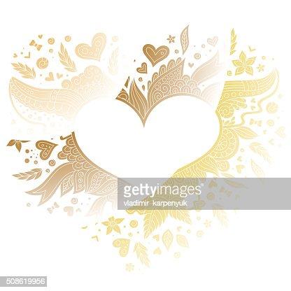Greeting gold heart elements for design. Vector illustration. : Vector Art