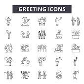 Greeting line icons, signs set, vector. Greeting outline concept illustration: greeting,shake,partnership,handshake,deal