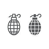 Grenade line and glyph icon, weapon and army, bomb sign, vector graphics, a linear pattern on a white background, eps 10.