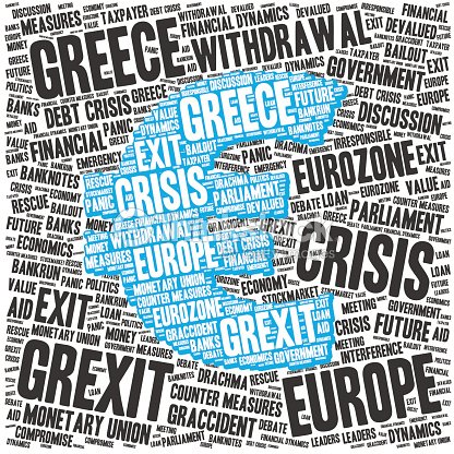Grexit Word Cloud About The Greek Crisis Euro Symbol