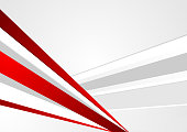 Grey and red corporate abstract stripes background. Vector graphic design