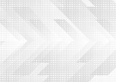 Grey and white tech arrows abstract modern background. Concept vector design
