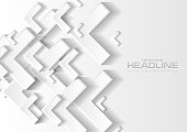 Grey and white tech paper arrows abstract background. Vector design