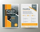 Grey and Yellow Geometric background Poster Brochure Flyer leaflet design Layout vector template in A4 size