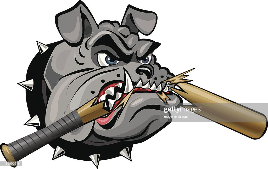 grey bulldog and bat vector art thinkstock rh thinkstockphotos com Flaming Baseball Bat Bat Making Contact with Ball