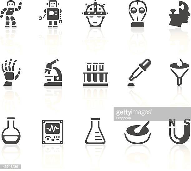 Grey icons that symbolize items in science