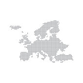 Grey Map Europe In The Dot. Vector illustration.