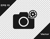 Grey Photo camera and gear icon isolated on transparent background. Adjusting app, service concept, setting options, maintenance, repair, fixing. Vector Illustration