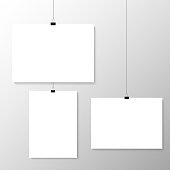 Image vector white poster hanging on binder. Grey wall with mock up empty paper blank. Layout mockup. Vertical and horizontal template sheet.