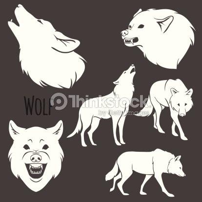 conjunto de silhueta de lobo cinzento arte vetorial thinkstock