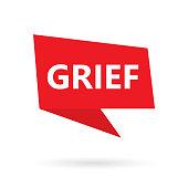 grief word on a speach bubble- vector illustration