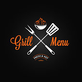 Grill logo vintage emblem. Grill fire and tools on black background 8 eps