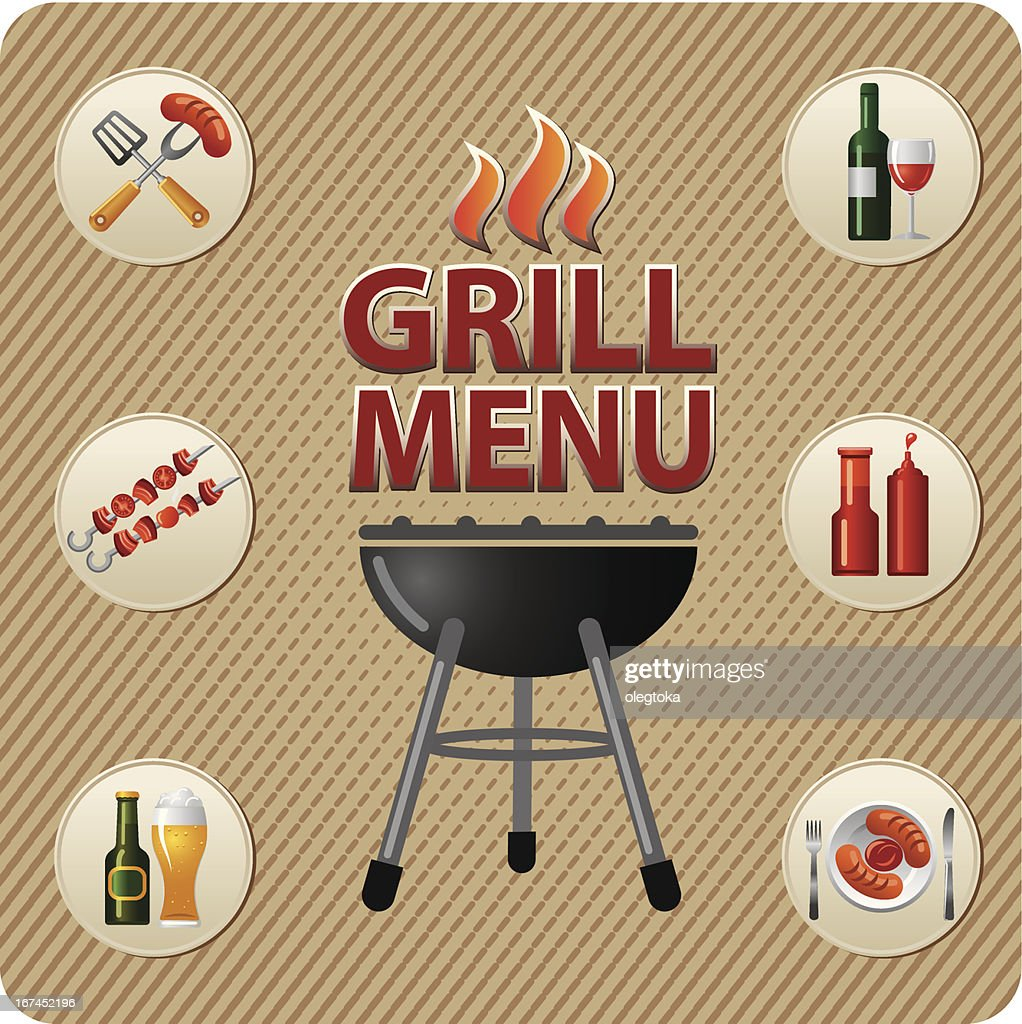 Grill menu card design : Vector Art