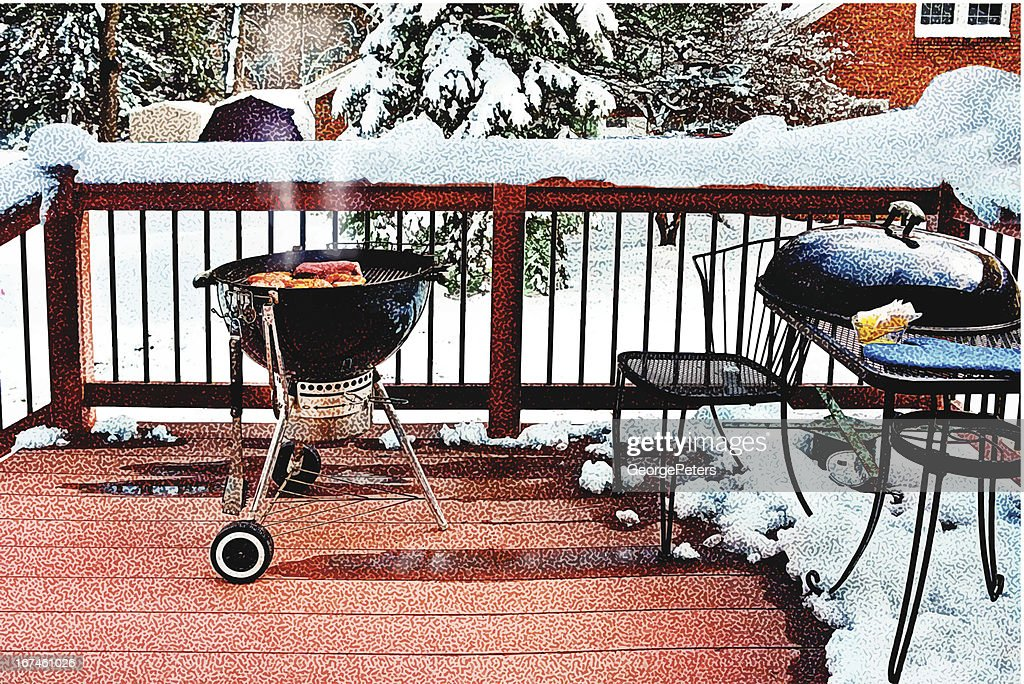 Grilling and Snow : Vector Art